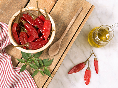 Hot Calabrian long peppers